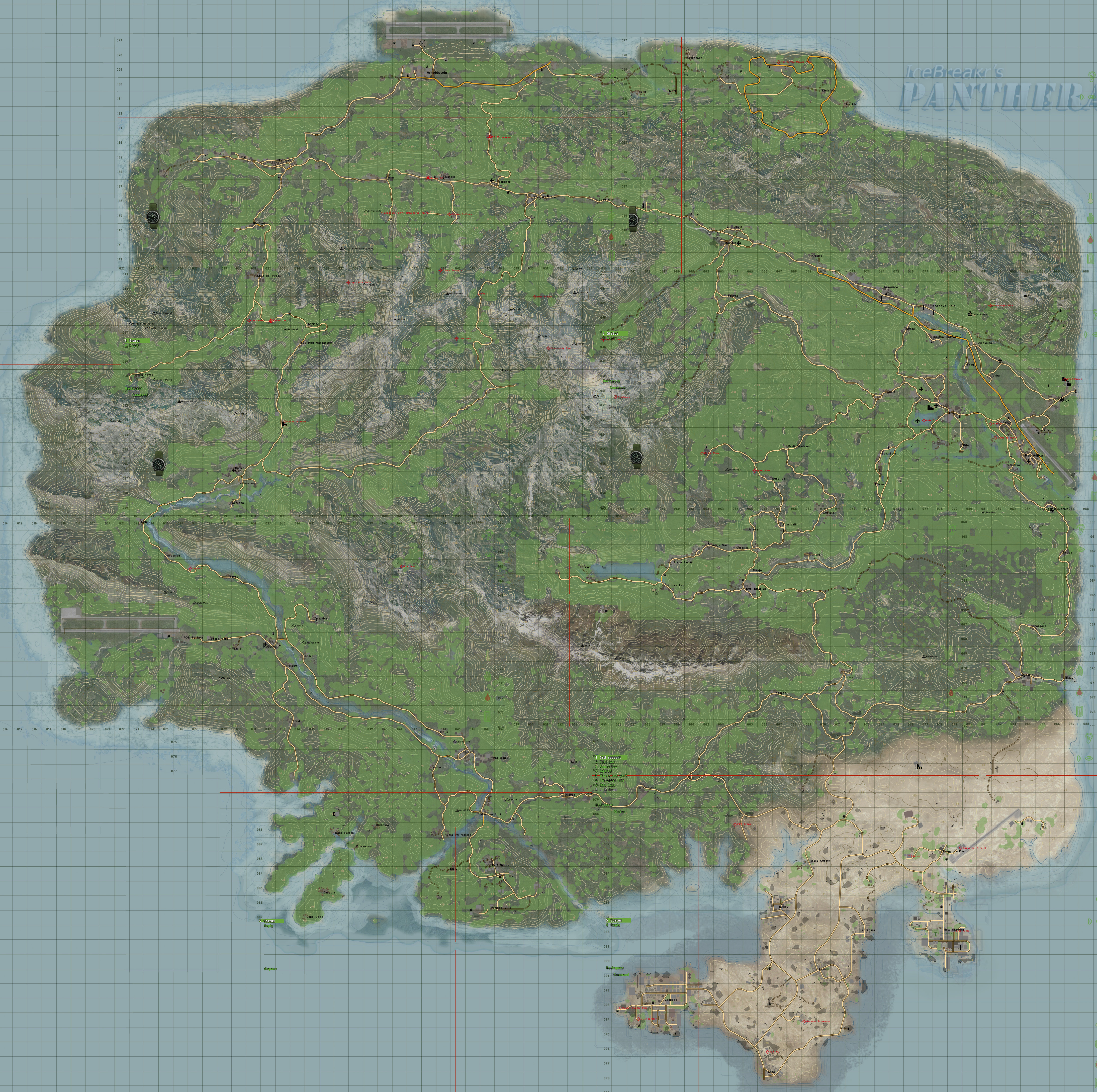 Panthera Island map (Composite of screencaps of in-game map) : dayz